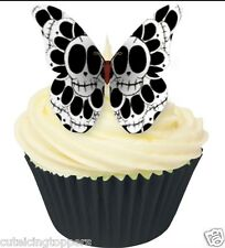12 PRE CUT EDIBLE RICE WAFER CARD SKULL DAY OF THE DEAD BUTTERFLY CAKE TOPPERS