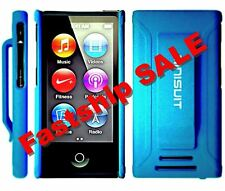 Brand New Blue Case Apple iPod Nano 7th Generation w/ Belt Clip + Screen Protect