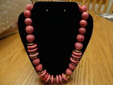 VINTAGE COSTUME JEWELRY MADE IN ITALY NECKLACE PINK LARGE BEADS & GOLDTONE