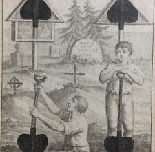 c1805 Shovel Pips Colonial Grave Digger Transformation Playing Cards Single +COA
