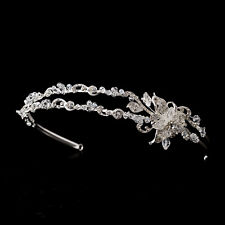 CLOSEOUT $ Charming Silver Clear Crystal Flower Bridal Sweet 16 Tiara Headband
