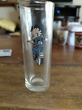 """4"""" Tall Shooter Shot Glass """"BETTY BOOP"""" Riding Motorcycle Glass"""