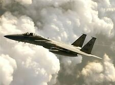 MILITARY AIR PLANE F-15 EAGLE FIGHTER BOMBER JET CLOUD FLIGHT POSTER ART BB932A