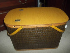 Vintage Hawkeye Burlington Picnic Basket Layered Woven Wicker Burlington Antique