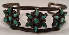 Vintage Zuni Indian Flower Turquoise Sterling Silver Bracelet Cuff