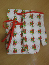 New Apron & Oven Glove Set, Red & White, Tropical Fruit Pattern
