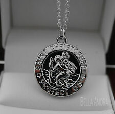 925 Sterling Silver Pltd St Christopher Pendant Double Side Necklace Chain 129
