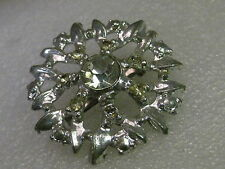 Vintage Brooch, 1930s/1940's, Silver tone Blossom Brooch with Rhinestones, Cast
