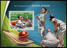 MALDIVES 2016 50th ANNNIVERSARY OF WASIM AKRAM CRICKET SOUVENIR SHEET MINT NH