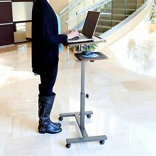 Portable Laptop Table Desk Stand Office Rolling Adjustable Computer Shelf Cart