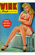Pin Up Girl Poster 11x17 Wink Magazine cover art Lingerie Blonde Cute