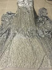 "GREY MESH W/SILVER SEQUIN EMBROIDERY   LACE FABRIC 52"" WIDE 1 YARD"