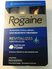 Men's Rogaine Hair Regrowth Treatment  Foam 3 Month Supply Unscented EXP 2018
