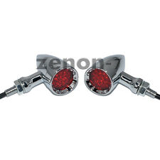 Motorcycle Red LED Chrome Housing Stop Brake Running Turn Signal Tail Light