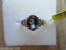 Northern Lights Mystic Topaz Diamond Accent Ring Platinum/Sterling Sz 7, 8 Opt