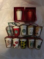 Starbucks 2015 Christmas Ornament 12 Piece Set - Limited Edition - Swarovski NEW