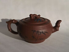 Theiere Chinoise Yixing et tasses - Chinese teapot bambou - Service signé