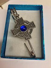 "Celtic Cross BLUE Gem ICCP kilt pin Scarf  Brooch pin pewter emblem 3"" 7.5 cm"