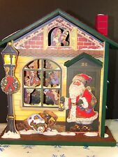 Vintage Musical Wooden House Animated Santa Claus Snowman Family Collectible