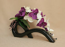 ARTIFICIAL SILK 2 STEMS MOTH ORCHIDS PURPLE & CREAM - LEAVES IN BLACK BOW VASE