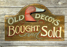 Old Decoy Sign original wooden decor vintage look art wood  hunting carved head