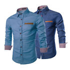 Fashion Men's Long Sleeve Denim Casual Shirts Slim Fit Dress Shirt Luxury Tops