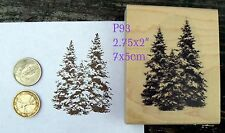 Evergreens, pine trees  rubber stamp wm
