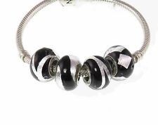 New set 4 Rhona Sutton 925 Sterling Silver murano charm beads - black & silver