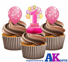 Girls 1st Birthday PInk Mix - 12 Fun Fully Edible Cup Cake Toppers Decorations