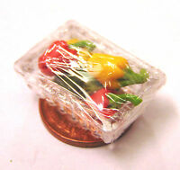 1:12th Plastic Punnet Of Mixed Peppers Dolls House Miniature Vegetable Accessory