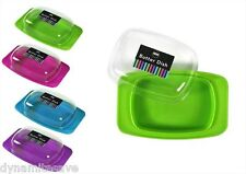 PLASTIC BUTTER DISH BOX WITH LID FRIDGE TIDY BUTTER STORAGE CAMPING 4 Colours