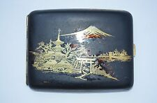 VINTAGE FINE JAPANESE KOMAI DAMASCENE MIX METAL SILVERINLAY BRASS CIGARETTE CASE