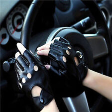 Half Finger Leather Cowhide Punk Rivet Motorcycle Car Driving Gloves Womens