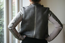 RICK OWENS GREY METALLIC LEATHER BIKER JACKET IT 44 UK 10