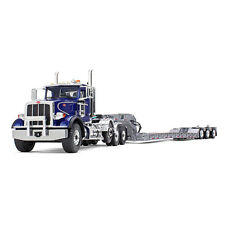1:34 First Gear *BLUE & SILVER* PETERBILT 367 Semi Truck w/Tri-Axle LOWBOY NIB