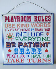 Family Playroom Rules Wall Sign Fun Metal Retro Play School Playtime Play Group