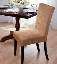 """DAMASK """"STRETCH"""" VELVET DINING CHAIR COVER--BEIGE-AVAILABLE IN 4 COLORS-ON SALE"""