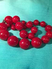 Vintage Chunky Cherry Red Lucite Graduated Bead Necklace