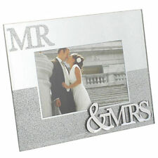 MR AND MRS MIRROR GLITTER PICTURE PHOTO FRAME GIFT WEDDING ANNIVERSARY 6 X 4.
