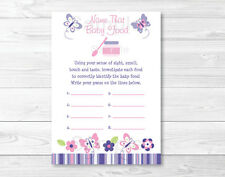 Pink & Purple Butterfly Name That Baby Food Baby Shower Game Printable