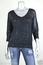 INC New Black Sequined V-Neck Dolman Sleeves Pullover Sweater Top MSRP $79 M