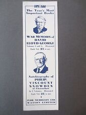 Vintage BOOKMARK WAR MEMOIRS David Lloyd George 1933 Publisher's Promo Snowden