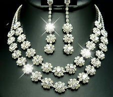 Set A, Silver plated Diamante Diamonte Necklace Wedding Party Prom Jewellery