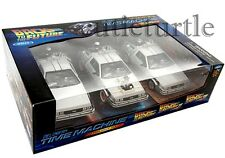 Welly DMC 12 DeLorean Back To The Future Time Machine BTTF 1:24 Trilogy Pack