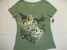 NEW Womens V Neck T Shirt Ladies Top Green Fleur De Lis Medium 8 - 10 Saints