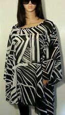 AVENUE CHIFFON SCARF BLOUSE TOP SHIRT 22 24 2X PLUS SIZE BLACK AND WHITE TOP NWT