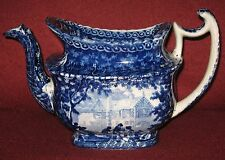 RARE ADAMS c.1804-1829 GABLES FARM DARK BLUE STAFFORDSHIRE TRANSFERWARE TEAPOT