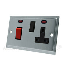 Slimline Satin Brushed Matt Chrome Cooker Control Unit 45A Switch Socket Neon