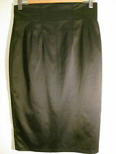 Great Sz M 12 Hunters and Gatherers Silky Black Pencil Skirt Designer