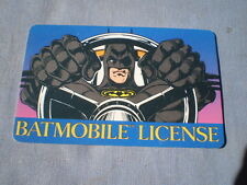 Batmobile License Card plastic Batman marvel wallet made in 1992 Boys Girls LOOK